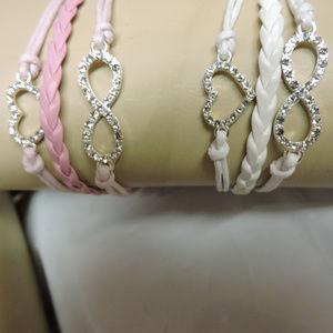 your choice - multi strand bracelet -pink or white